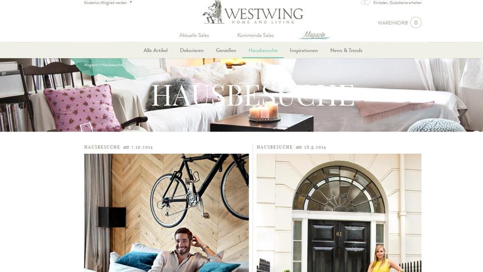 Screenshot Webseite Online-Shop Westwing