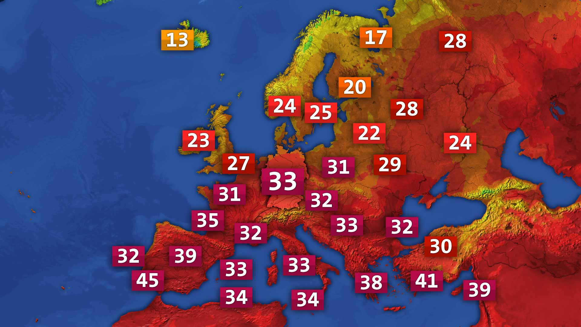 Temperatur heute in Europa
