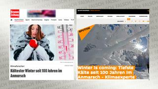 "Screenshots zweier Webseiten zum Thema ""Strenger Winter"""