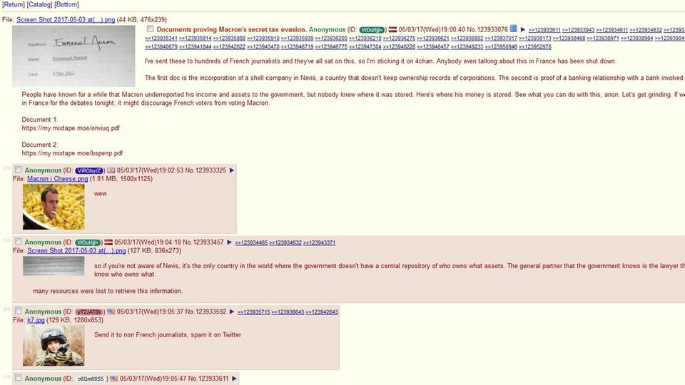 "Screenshot des ""4chan""-Posts über Macron"
