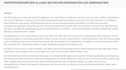 Programm der Partei Allianz deutscher Demokraten