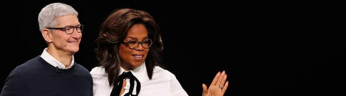 Apple-Chef Tim Cook mit TV-Star Oprah Winfrey | Bildquelle: REUTERS