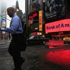 Reklame für die Bank of America in New York | null