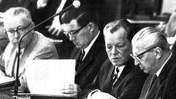 Ernst Benda, Kurt-Georg Kiesinger, Willy Brandt im Bundestag