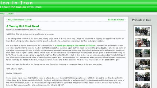"Screenshot des iranischen Blogs ""Revolution in Iran"""