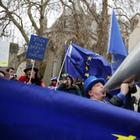 Pro-europäische Demonstranten vor dem Parlament in London | AP
