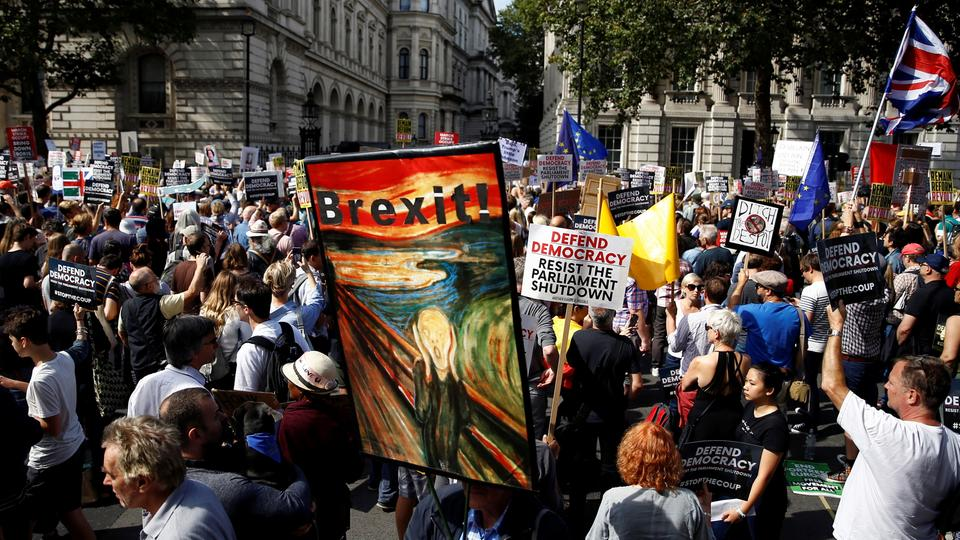 Demonstranten in London | Bildquelle: REUTERS