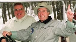 Bush und Kohl 1992 in Camp David
