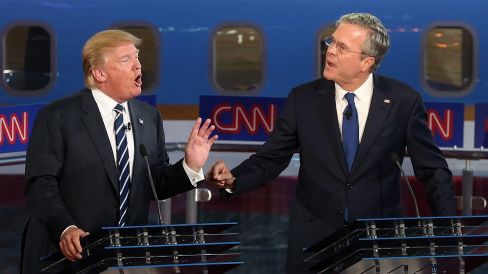 TV-Duell der Republikaner: Donald Trump und Jeb Bush | Bildquelle: AFP