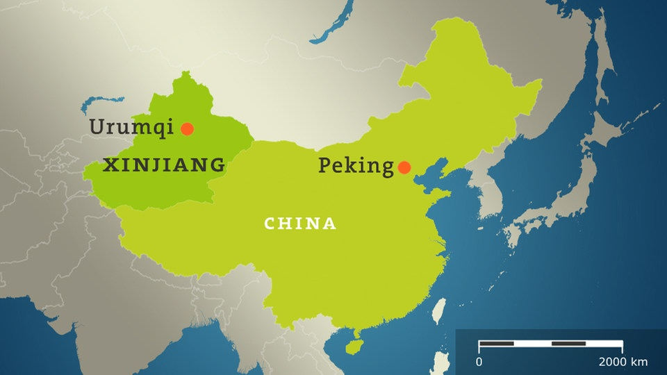 Karte China mit Peking Urumqi Xinjiang
