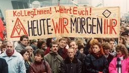 Demonstration vor der Treuhandanstalt in Berlin im November 1990