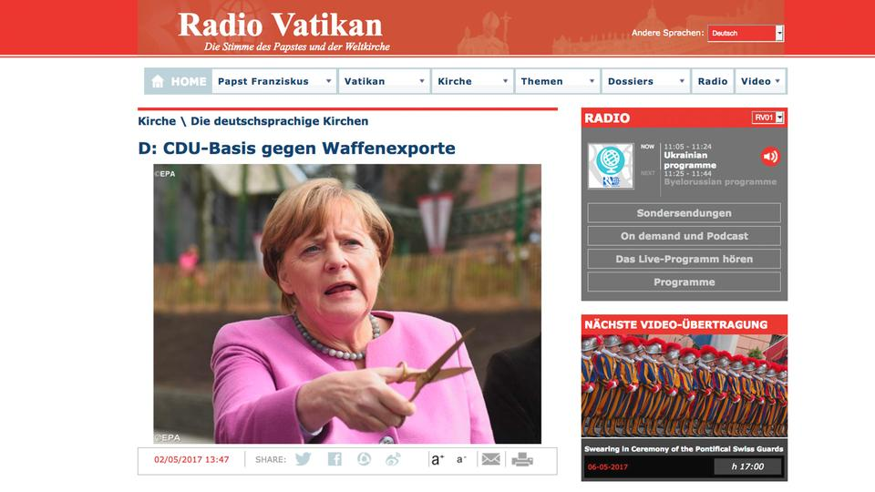 Screenshot der Radio Vatikan Website