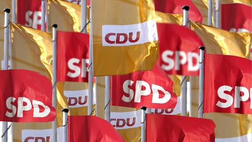 Flaggen SPD-Union | Bildquelle: picture alliance / Ulrich Baumga