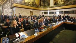 Ein Blick in den Saal der internationalen Syrien-Konferenz in Genf.