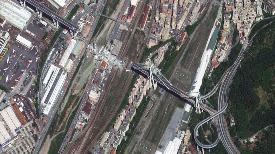 Satellitenbild der Morandi-Brücke in Genua | Bildquelle: European Space Imaging