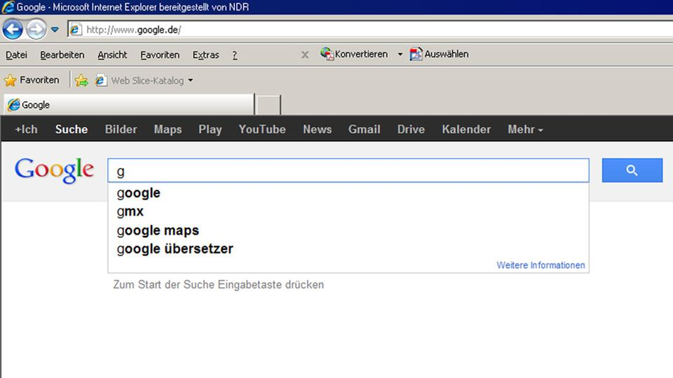 Screenshot der Autocomplete-Funktion Google