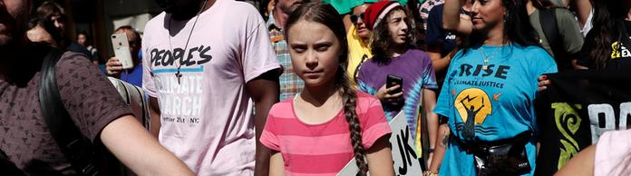 Greta Thunberg demonstriert in New York. | Bildquelle: REUTERS