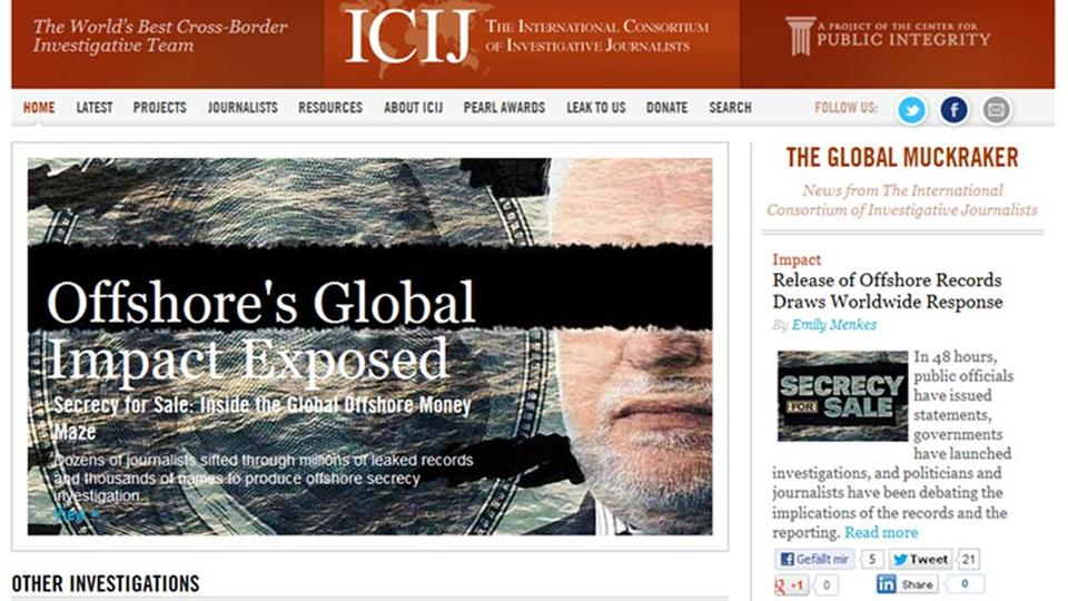 "Screenshot der Homepage von ""International Consortium of Investigative Journalists"""