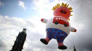 Puppe von Boris Johnson in London