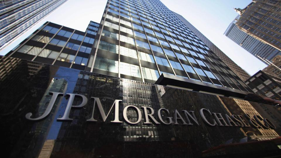 Firmenschild der Bank JP Morgan Chase & Co  in New York