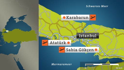 Map: The location of the three airports in the metropolitan area of ​​Istanbul.