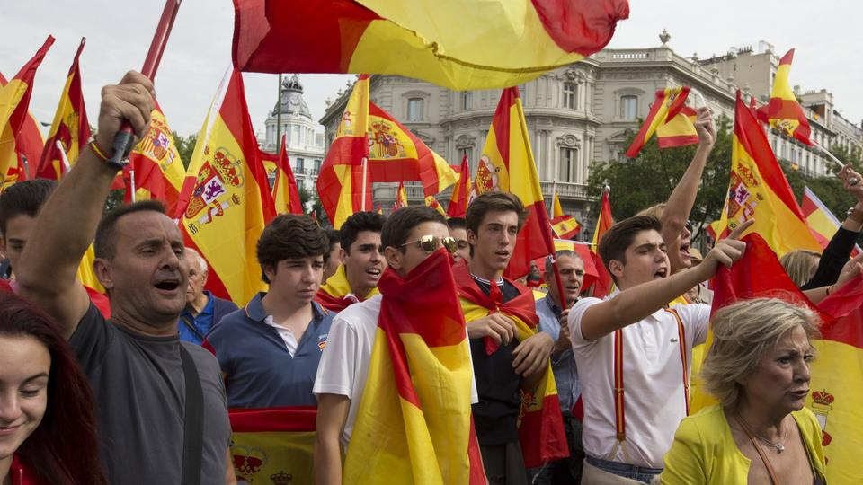 Demonstranten in Madrid | Bildquelle: AP