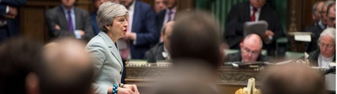 Die britische Premierministerin Theresa May im Londoner Parlament. | Bildquelle: MARK DUFFY/UK PARLIAMENT/HANDOUT