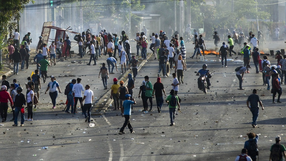 Demonstranten in Managua m April 2018 . | Bildquelle: JORGE TORRES/EPA-EFE/REX/Shutter