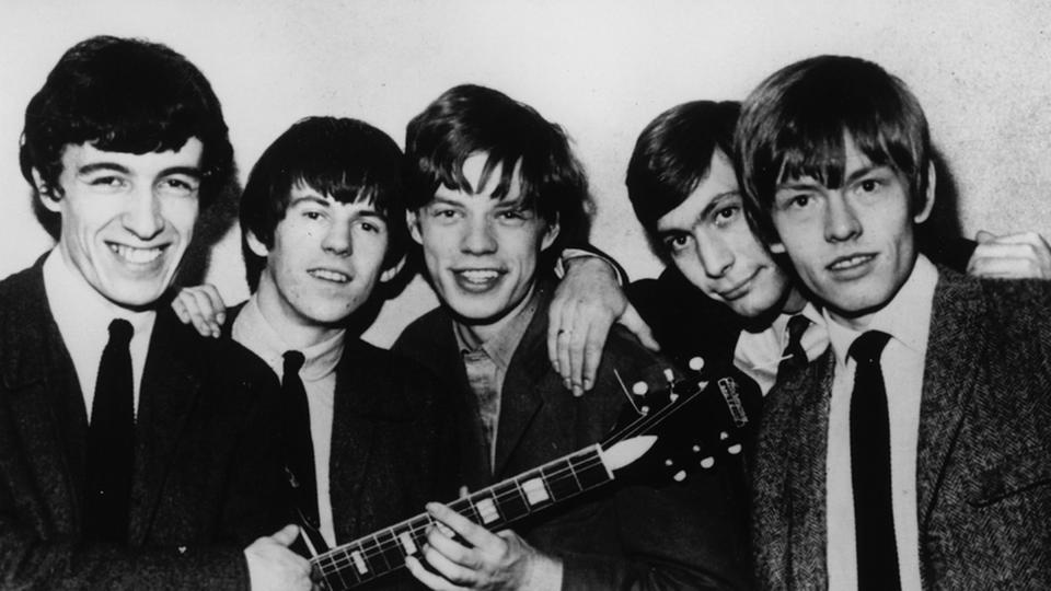 50 Jahre Rolling Stones:   Bill Wyman, Keith Richards, Mick Jagger, Charlie Watts und Brian Jones (1964, von links)