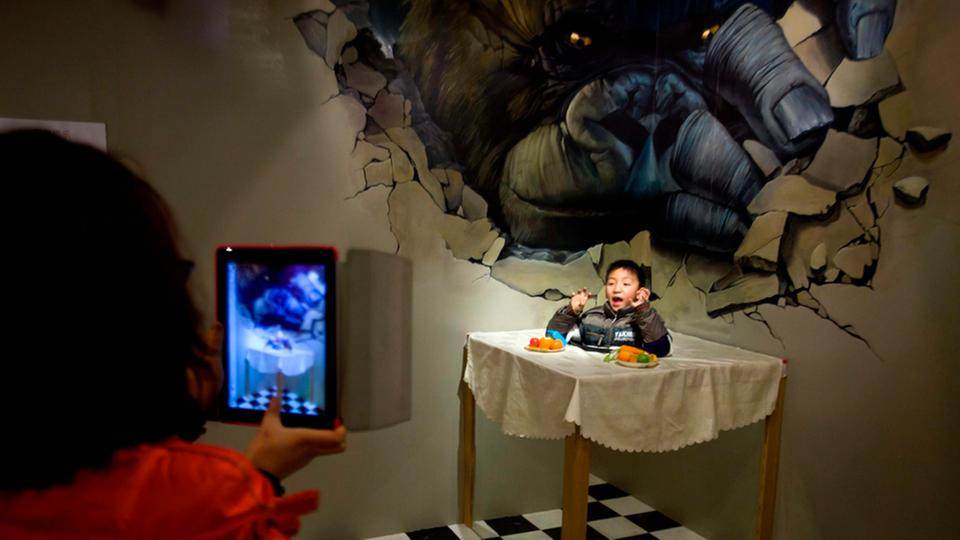 3D-Malerei-Ausstellung im Magic Fun House in China.