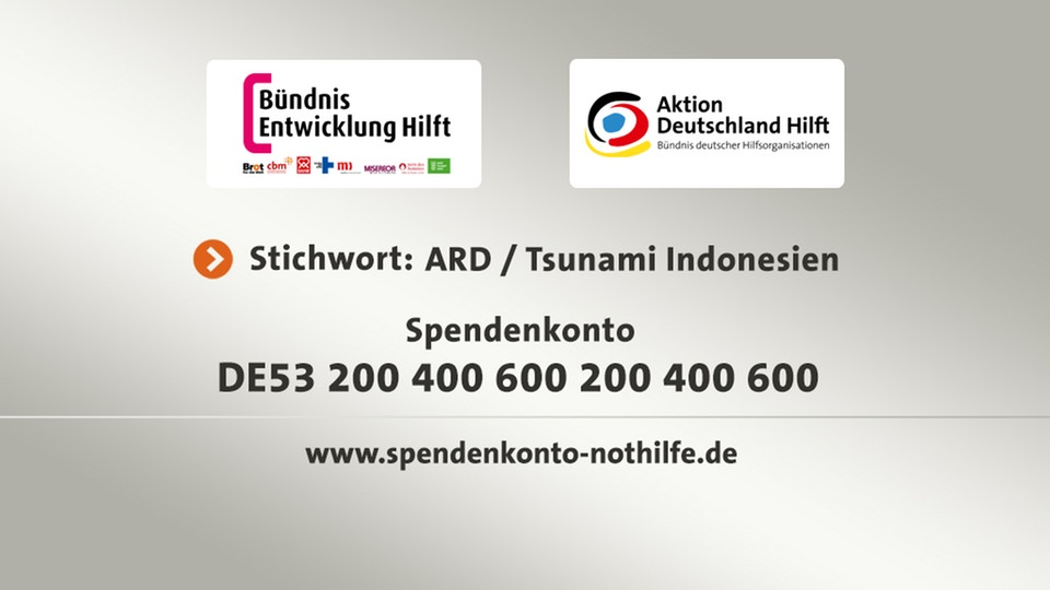 Spendentafel: Tsunami Indonesien