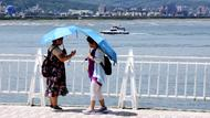Touristen am Tamsui-Fluss in Taiwan