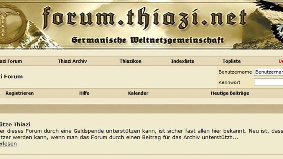 "Screenshot des Neonazi-Forums ""Thiazi"""