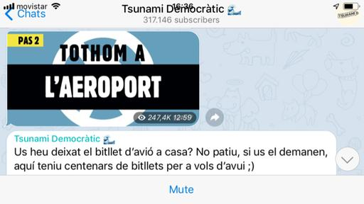Screenshot der Telegram-Gruppe Tsunami Democrátic