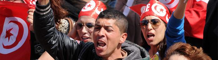 Demonstranten in Tunis | Bildquelle: dpa