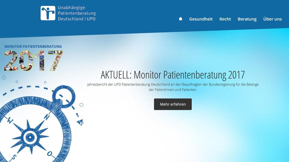 Screenshot der Internetseite Patientenberatung UPD | Bildquelle: UPD Website