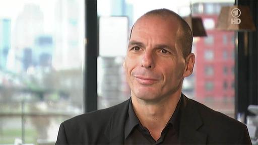 Yanis Varoufakis beim Interview in Frankfurt