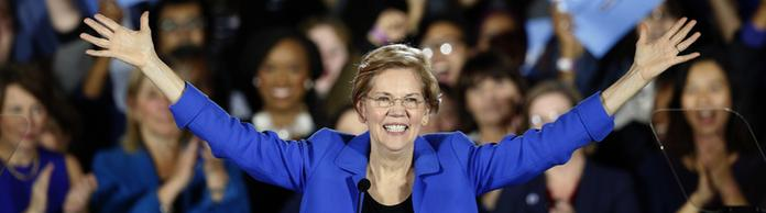 Elisabeth Warren bei ihrer Siegesrede am 6. November in  Massachusetts . | Bildquelle: AP
