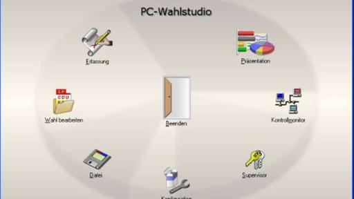"Screenshot: Bedienoberfläche der Software ""PC-Wahl"""
