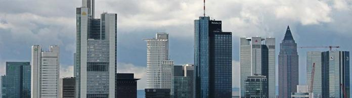 Panorama des Bankenviertels in Frankfurt am Main
